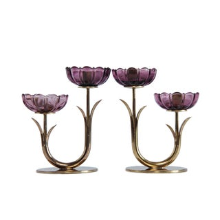 Mid-Century Swedish Brass Candlesticks by Gunnar Ander - a Pair For Sale