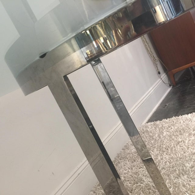 Chrome Milo Baughman for d.i.a. Glass Top Chrome Table For Sale - Image 7 of 9