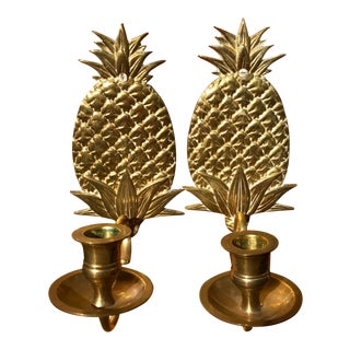 Hollywood Regency Brass Pineapple Sconces - a Pair For Sale