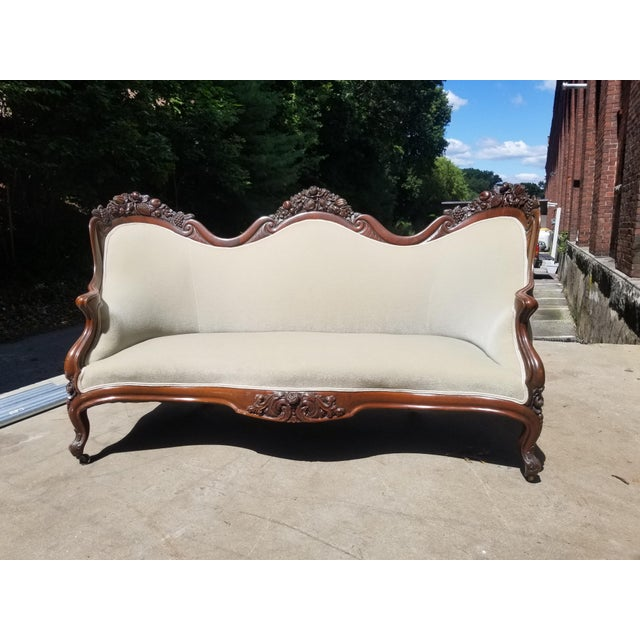 Early American Mid 19th Century Antique John Henry Belter Velvet Green Loveseat For Sale - Image 3 of 11