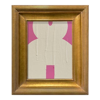Ron Giusti Mini Kokeshi Doll Head Pink Cream Acrylic Painting, Framed For Sale