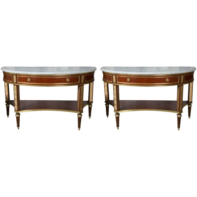 Jansen Marble Top Demilune Console Tables - A Pair - Image 1 of 9