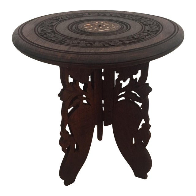 Floral Carved Chai Table - Image 1 of 9