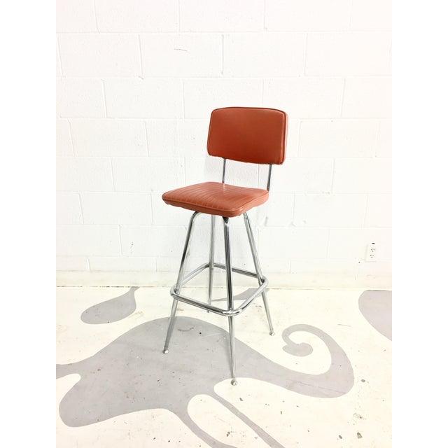 Mid-Century Chrome and Orange Vinyl Barstool - Image 3 of 6
