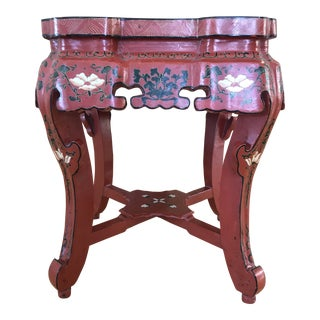 Red Asian Lacquer Side Table For Sale