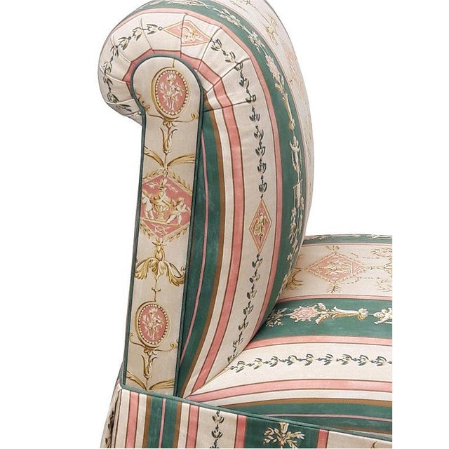 1980s French Upholstered Cherub Neoclassical Napoleon III Slipper Chair For Sale - Image 5 of 8
