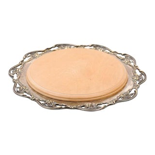 Late 19th Century English R.F. Mosley & Co Round Silver Plated Tray With Pierced Scalloped Border For Sale