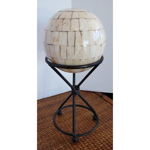 Modern Handmade Shell Stone Mosaic Ball With Stand For Sale - Image 4 of 4