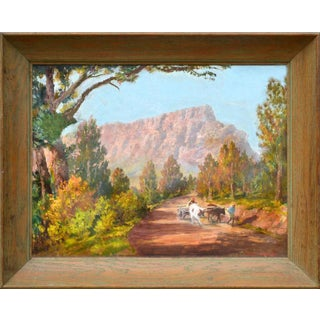 Mid 20th Century South African Mountain Landscape Oil Painting, Framed For Sale