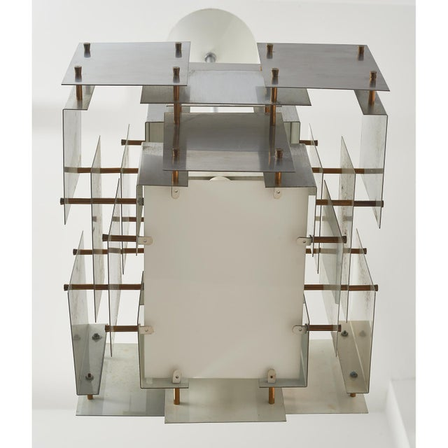 Satin Steel Floating Panel Chandelier by Robert Sonneman For Sale - Image 10 of 11