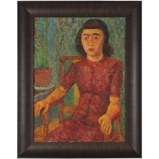 Jennings Tofel Mid Century Expressionist Seated Portrait of a Girl For Sale