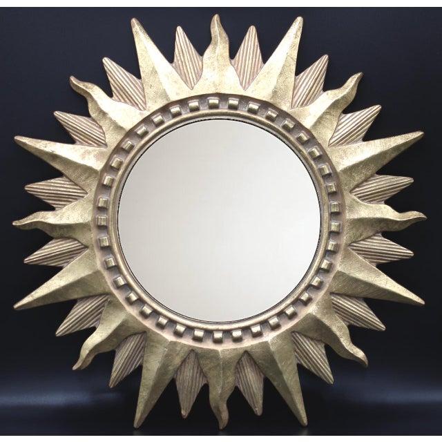 Superb golden gilt convex sunburst mirror. Absolutely stunning!