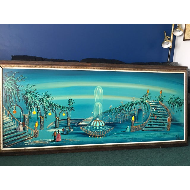 Mid Century Modern Light-Up Oil Painting Signed by Carlo - Image 2 of 9