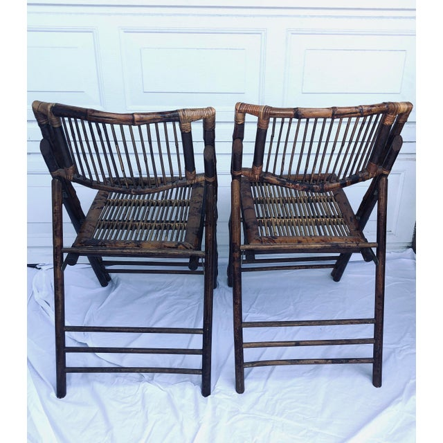 Outstanding Tortoiseshell Bamboo Folding Chairs A Pair Caraccident5 Cool Chair Designs And Ideas Caraccident5Info