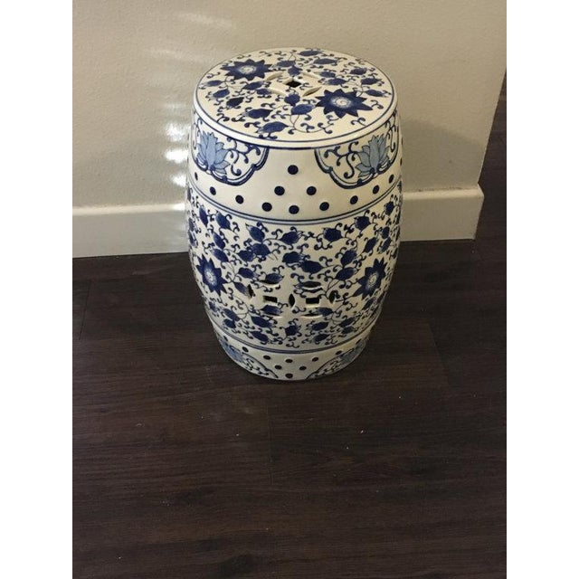 Blue and White Asian Garden Stool - Image 2 of 5