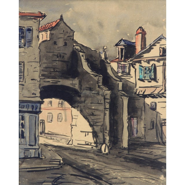 Monory Cobbled French Street 1930 Watercolor - Image 3 of 5