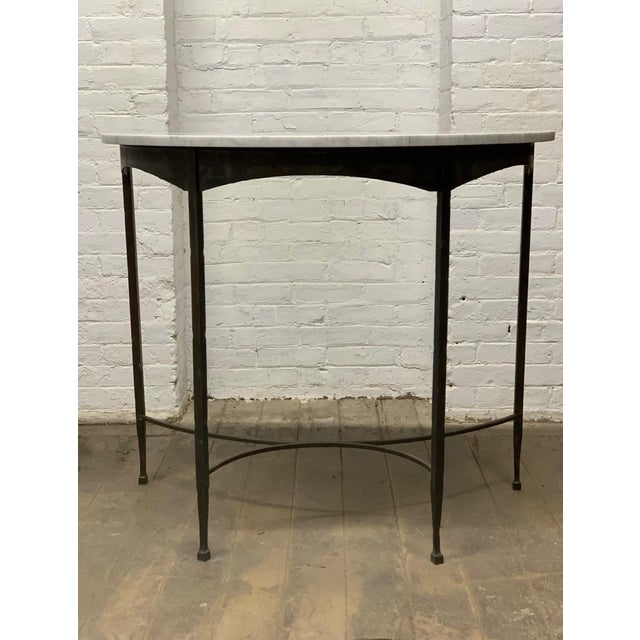 Pair French Wrought Iron and Carrara Marble-Top Demilune Tables For Sale - Image 4 of 8