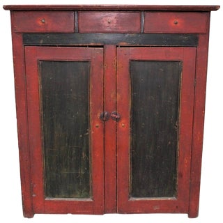19th Century Cupboard With Original Paint From Vermont For Sale