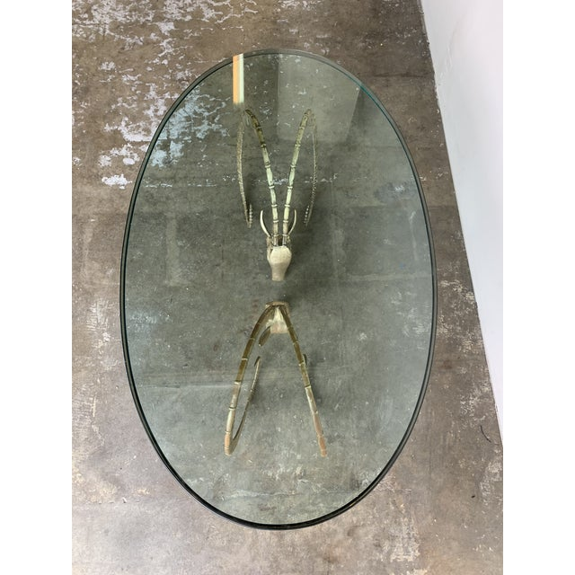 1970s Hollywood Regency Brass Ibex Rams Head Coffee Table For Sale - Image 5 of 13