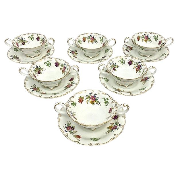 English Soup Cups & Saucers - Set of 6 - Image 1 of 10