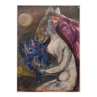 "1947 Marc Chagall Original ""Clair De Lune"" Period Lithograph, C. O. A. For Sale"