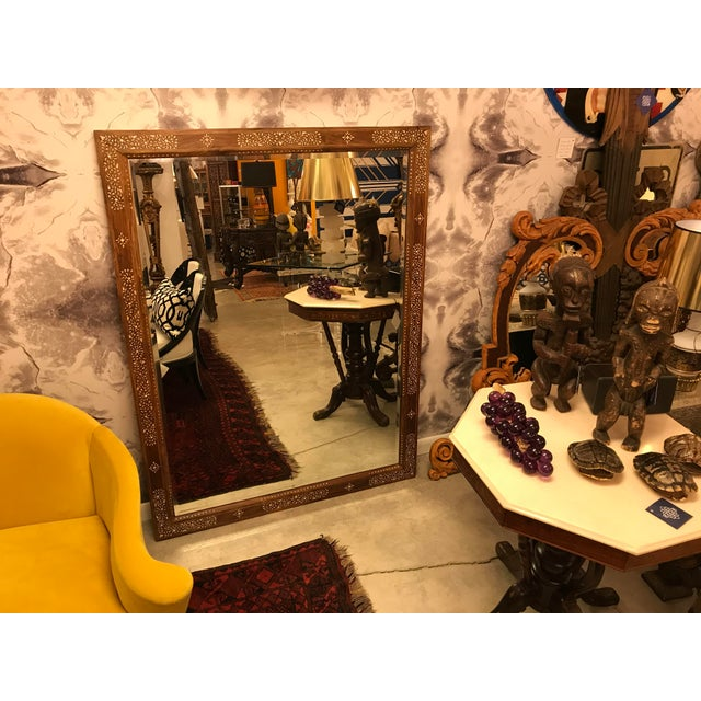 Large Teak Mirror With Bone Inlay For Sale In Miami - Image 6 of 7