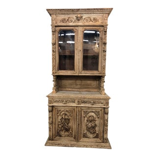 19th C. French Louis XIII Distressed Oak Hutch For Sale