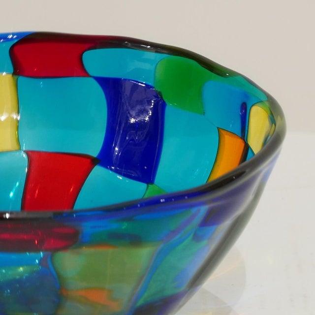 """Murano Italian Vibrant Blue Ballarin Murano Glass """"Pezzatto"""" Bowl Signed W Label For Sale - Image 4 of 9"""