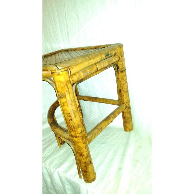 Brown Vintage Scorched Bamboo Corner Shelf For Sale - Image 8 of 8