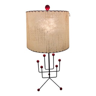 1950s Vintage Metal Wood Atomic Ball Lamp For Sale
