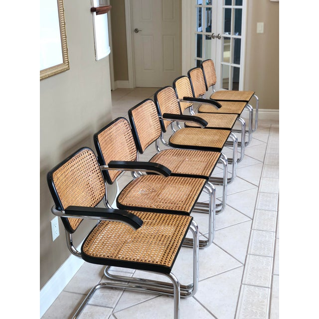 Gavina 1950s Knoll Authentic Ebonized Beech Cesca Chairs – Set of 7 For Sale - Image 4 of 12