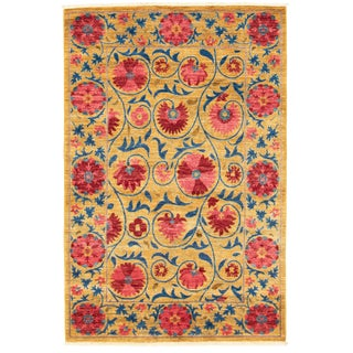 """Suzani Floral Hand-Knotted Rug-4'1"""" X 6'2 For Sale"""