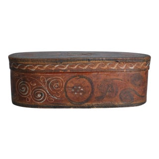 Antique Norwegian Tine Box With Rosemaling For Sale