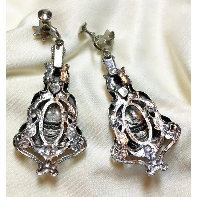 Mid-Century Silvertone Metal Buddha Dangling Screw-Back Earrings For Sale - Image 4 of 7