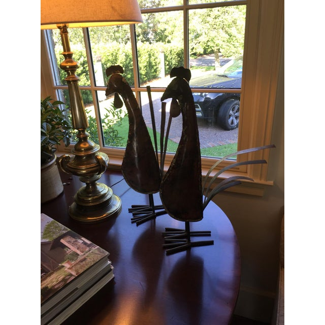 Metal Rustic Copper Roosters - a Pair For Sale - Image 7 of 11