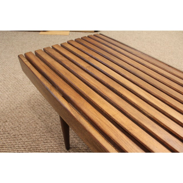 Mid-Century Danish Modern Walnut Slat Bench Coffee Table - Image 8 of 10