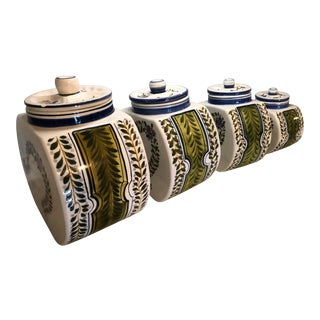 1960s Vintage Hand Painted Italian Majolica Canisters- Set of 4 For Sale