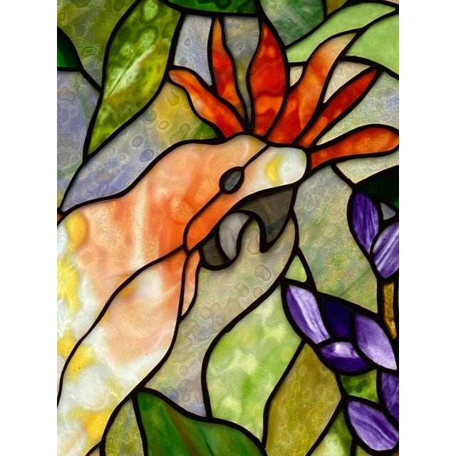 Vintage Abraham '94 Stained Glass Window Decoration of a Tropical Cockatoo For Sale - Image 9 of 13
