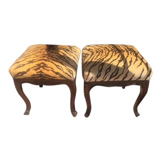 19th C French Carved Walnut Stools - a Pair For Sale