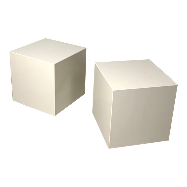 1970s Modern Lacquered White Cube Side Tables- A Pair For Sale