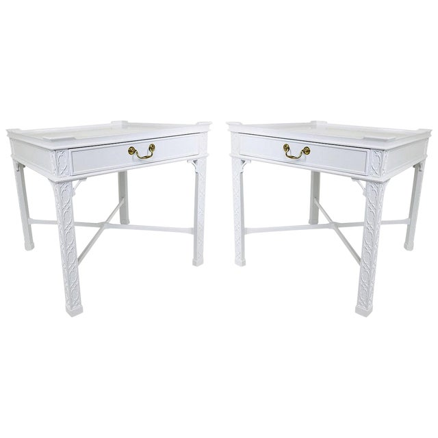 Pair of Lacquered Chippendale Side Tables by Baker For Sale