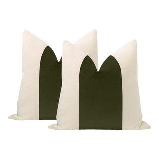 """22"""" Olive Velvet Panel + Linen Pillows - a Pair For Sale"""