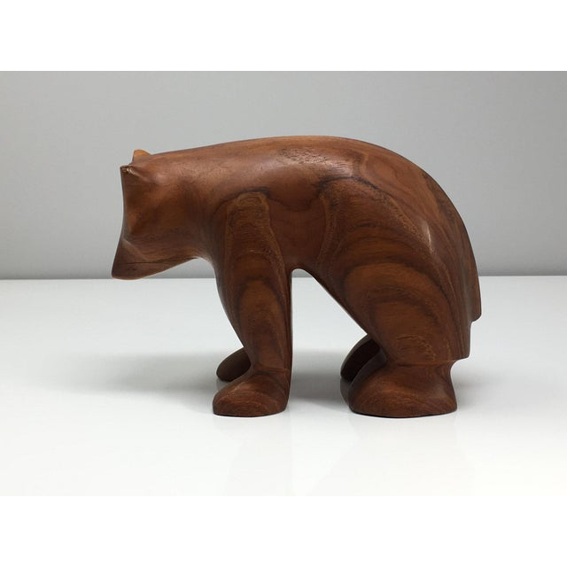 Danish modern hand carved wooden bear, perfect for rustic farmhouse chic decor.