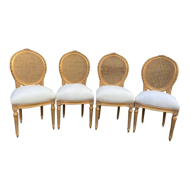 New 4 Chairs in Antique Gold Finish For Sale