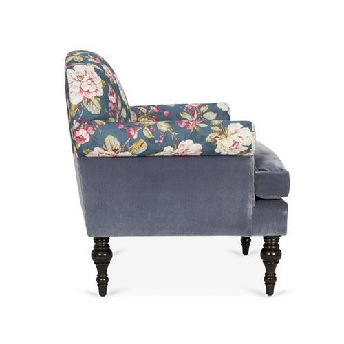 English Traditional Kim Salmela Blue Floral Chair For Sale - Image 3 of 6