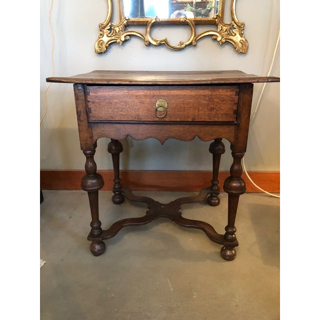19th Century Traditional William & Mary Revival English Oak Table with Drawer For Sale - Image 12 of 12