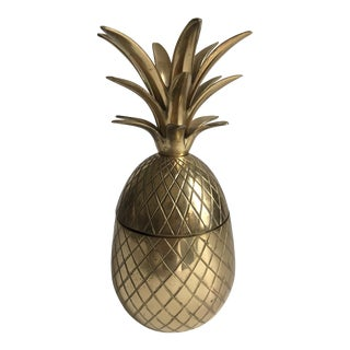 Vintage Large Brass Pineapple Container For Sale