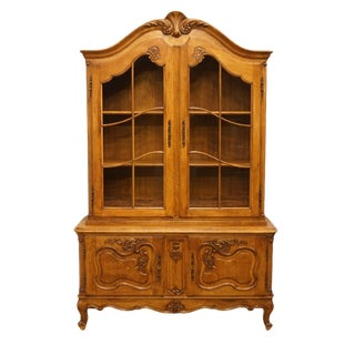 """1920's Vintage Antique Louis XVI French Regency 51"""" Buffet W. China Cabinet Hutch For Sale"""