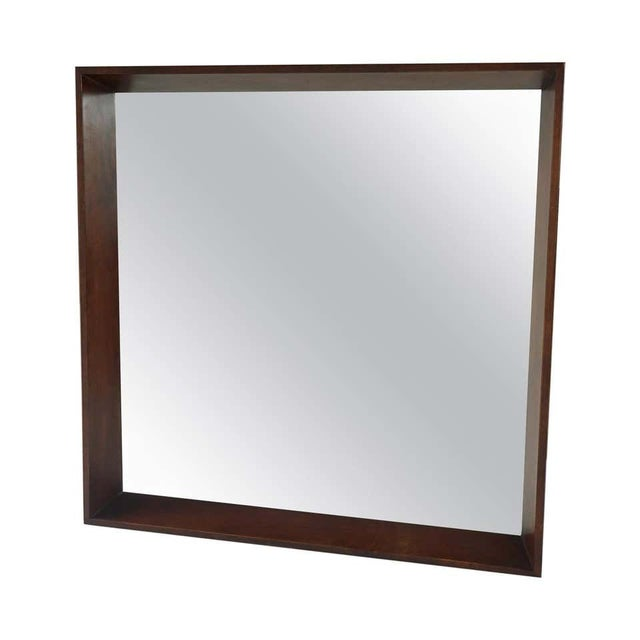 Gilbert Rohde for Herman Miller Square Heavy Walnut Frame 1940s Wall Mirror For Sale - Image 10 of 10