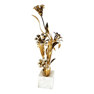 Brass Art Plant Sculpture with Gold Gilded Painted Marble Base For Sale